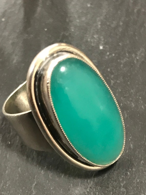 S. Christian Fough Modernist style Danish Silver chrophrase statement piece ring