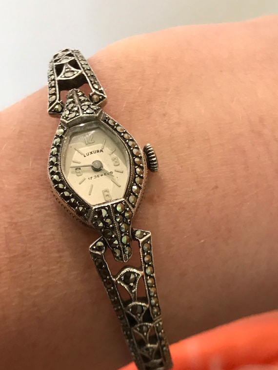 Beautiful 1960s solid silver and Marcasite ladies cocktail watch