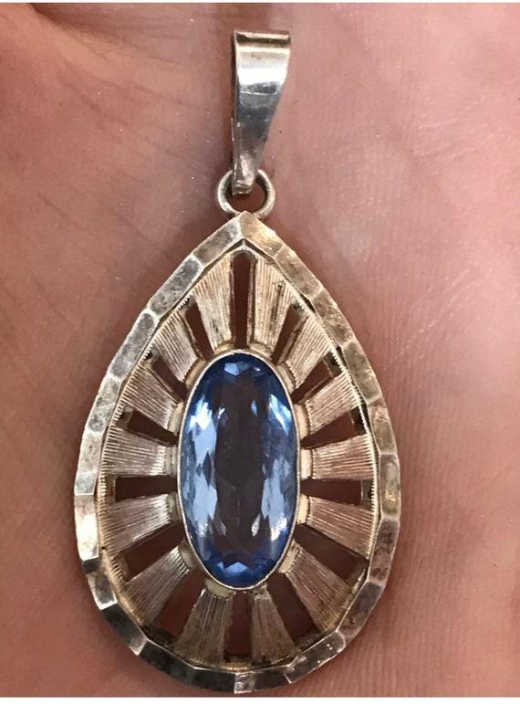 Vintage designer solid silver Modernist pendant set with a blue stone 925 A*D