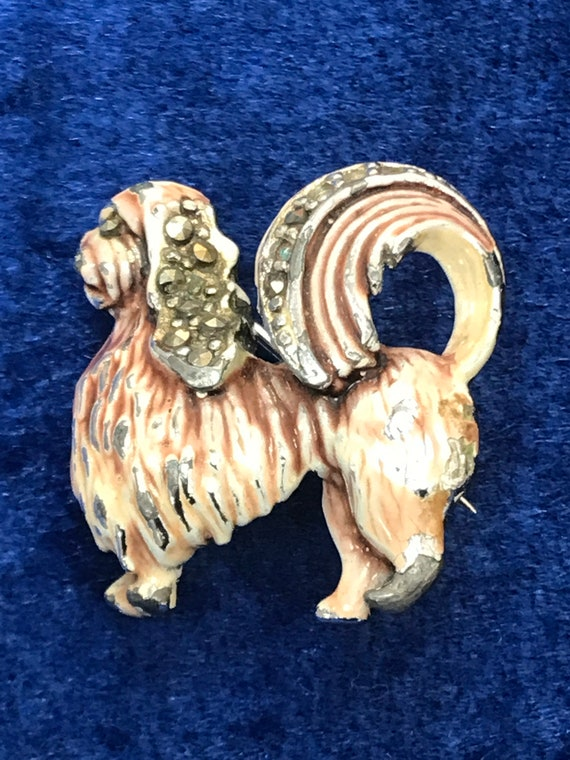 Vintage enamelled Marcasite dog brooch pin