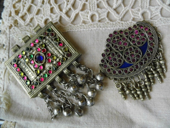 Two stunning Vintage Middle Eastern Pendants for reworking or upcycling