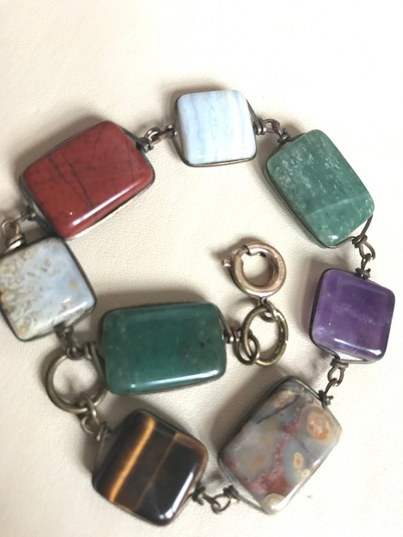 vintage semi precious hard stone wire set bracelet