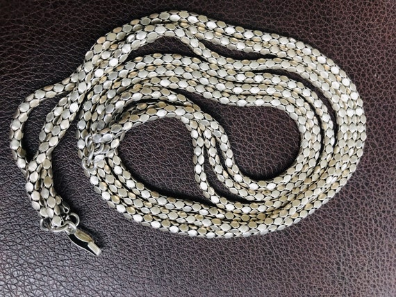 Vintage three stranded solid silver herringbone  chain necklace