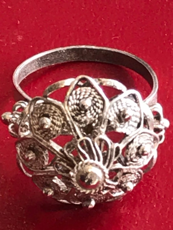 Vintage silver filigree bohemian style dome ring