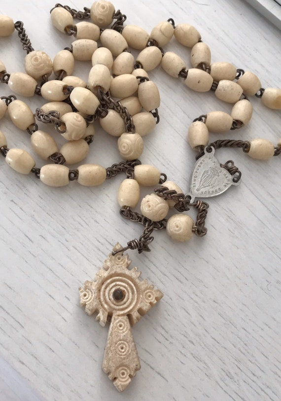 1930s vintage Stanhope bone rosary beads picture of cathederalle d Arras
