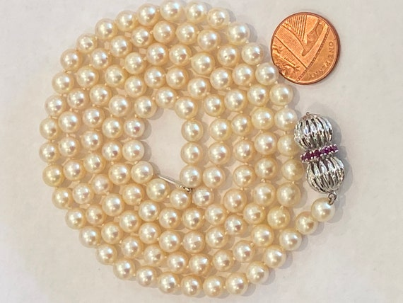 Stunning long cultured pearl hand knotted beaded necklace 35 inches with 14 k 585 gold clasp