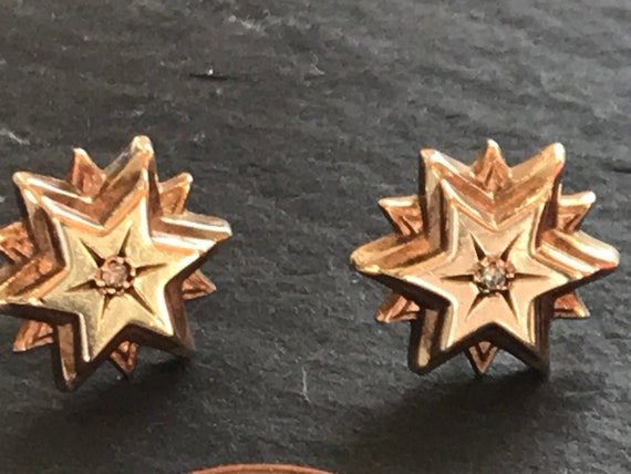 Beautiful 9 carat gold and Diamond Victorian multilayered stud star earrings