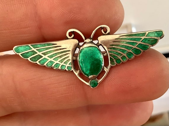 Stunning Antique Charles Horner winged Scarab beetle brooch pin green enamel on silver