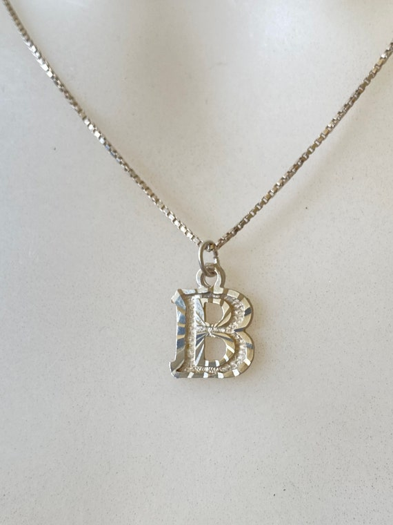 """Vintage Sterling silver charm necklace letter B on a 17"""" inch silver chain"""