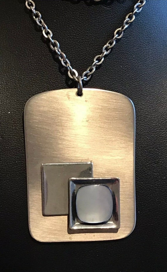 "Striking Modernist Pendant Necklace c1970s PEAK Stainless England 27"" inch chain"