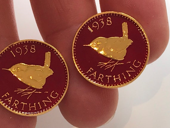 1938 Red enamelled Farthing cufflinks mens gift