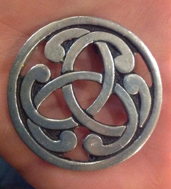 Statement piece St Justin vintage Celtic knotwork Cornish pewter brooch/ pin