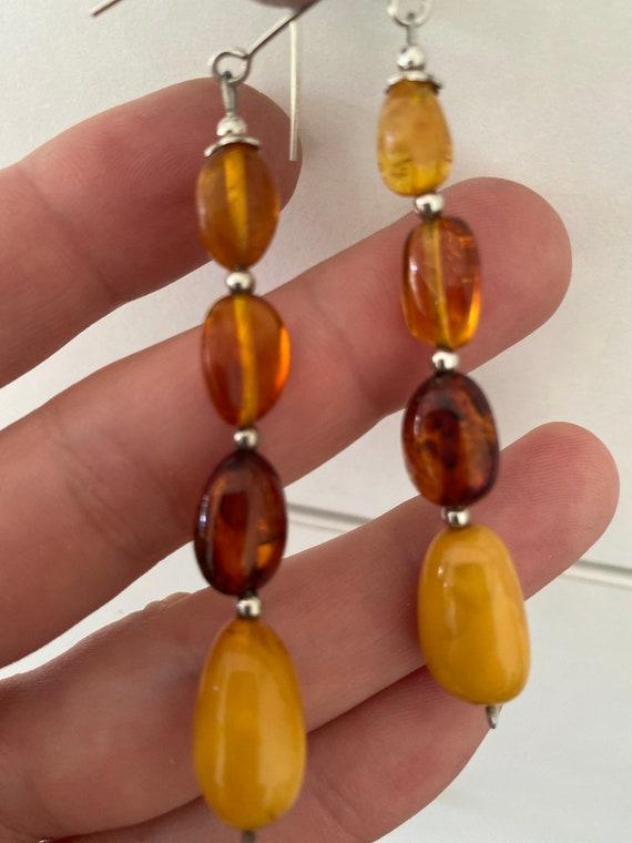 Long vintage honey baltic amber beaded droplet earrings