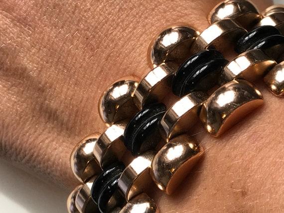 Rare Le Farre style chunky rose gold black glass vintage bracelet/cuff  c1960s