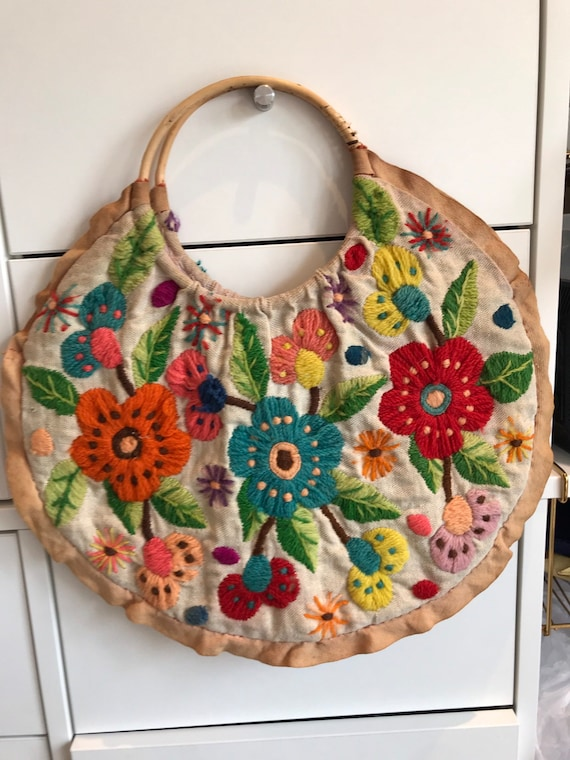 Vintage 1960s handmade wool tapestry bag project unfinished