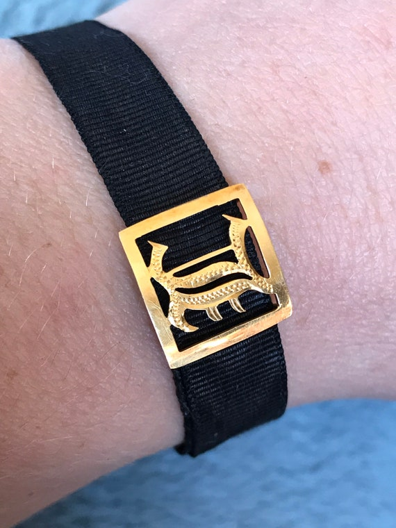 Antique Victorian black Moire silk Mourning bracelet with 9ct gold monogram