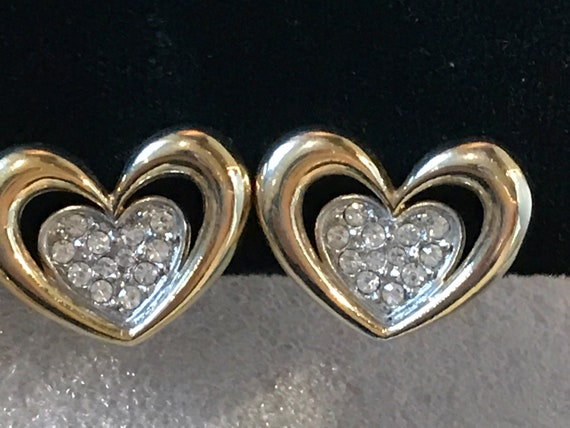 Attwood and Sawyer vintage crystal heart shaped clip on earrings