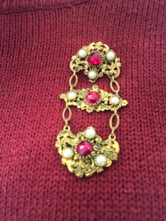 Stunning red glass elaborate vintage Czech dangle drop brooch Statement piece jewellery