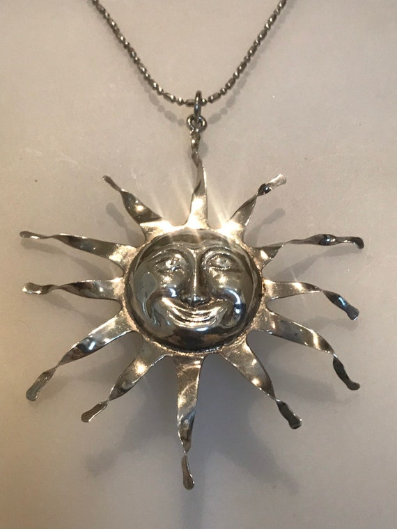 "Unusual large statement piece solid silver handmade vintage sun face pendant on 18"" silver chain"