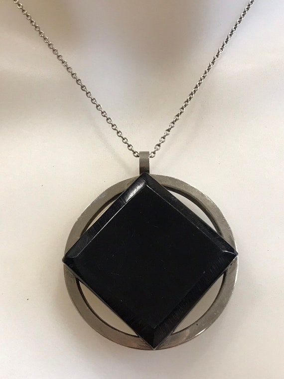 Unusual Modernist Oversized Chome And Black Acrylic Pendant c1960-70s
