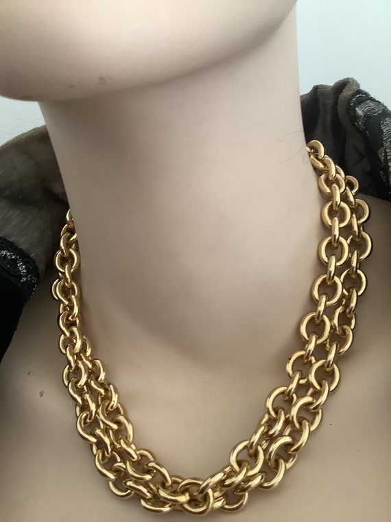 Heavy long gold plated vintage chain necklace by Christian Dior inches in 35.5 length