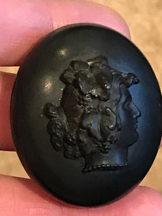 Antique Victorian High relief cameo Vulcanite Mourning locket Bacchante god of wine
