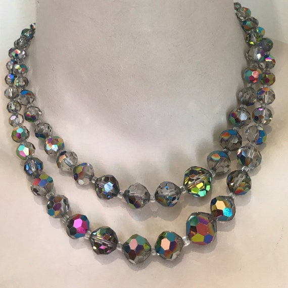 Beautiful vintage beaded aurora borealis two stranded crystal necklace rainbow crystal clasp