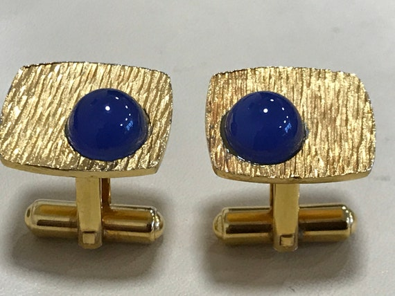Funky 1970s brushed gold and blue cabochon cufflinks fathers day gifts