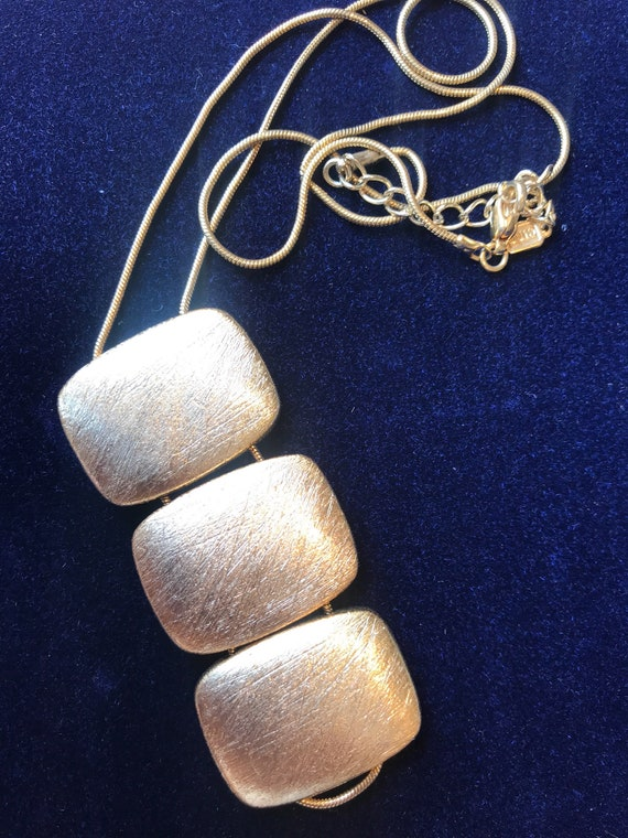Beautiful and unusual gold plated textured brush finish 70s style CIRO necklace