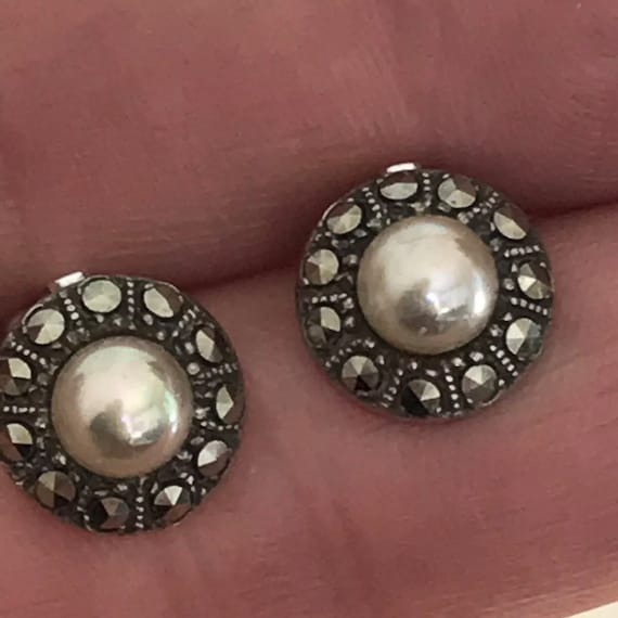 Vintage Solid Silver Hallmarked Marcasite Classic Clip On Earrings Date 1957