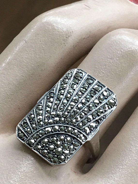 Striking original Art Deco solid silver and Marcasite geometric sunray ring