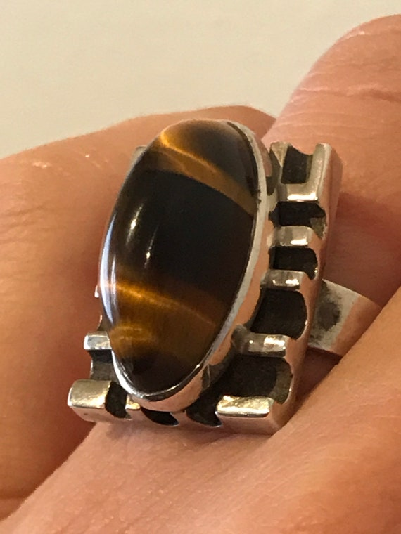 Vintage South African solid Sterling silver 1970s Brutalist Tigers eye agate Statement ring size UK P US 7.5
