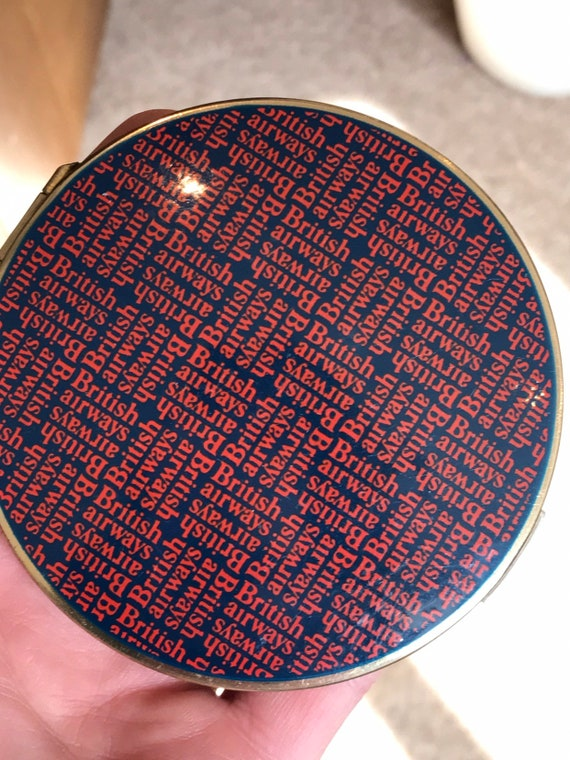 Iconic Vintage British Airways red and blue promotional make up compact by Stratton