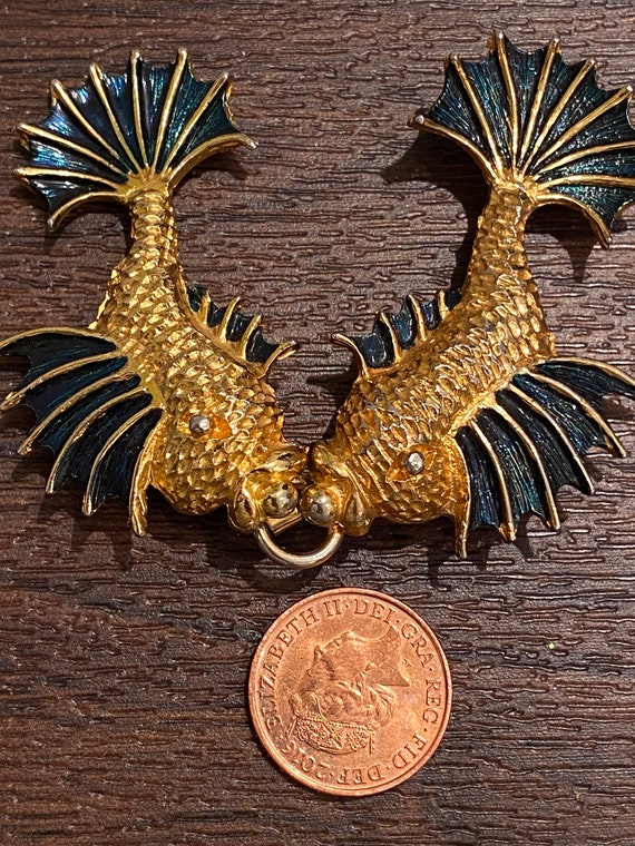 Unusual vintage gold toned and enamelled flying fish Angel fish koi fish belt buckle