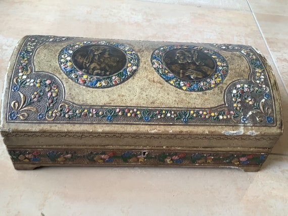 Vintage Italian wooden jewellery box depicting Beatrice and Dante Fausti E Marini Firenze