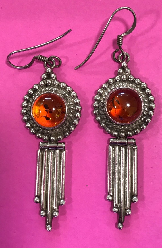 Vintage 925 Sterling Silver and baltic honey amber drop earrings