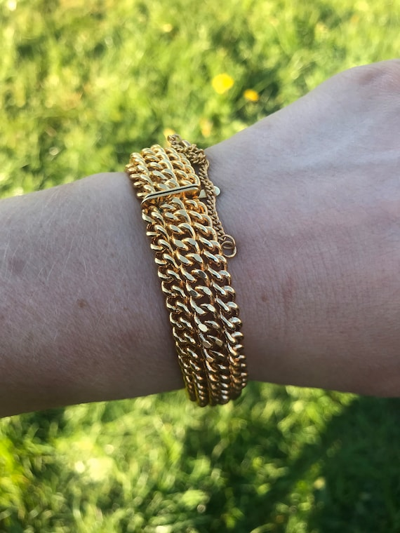 chunky vintage gold toned thick chain bracelet