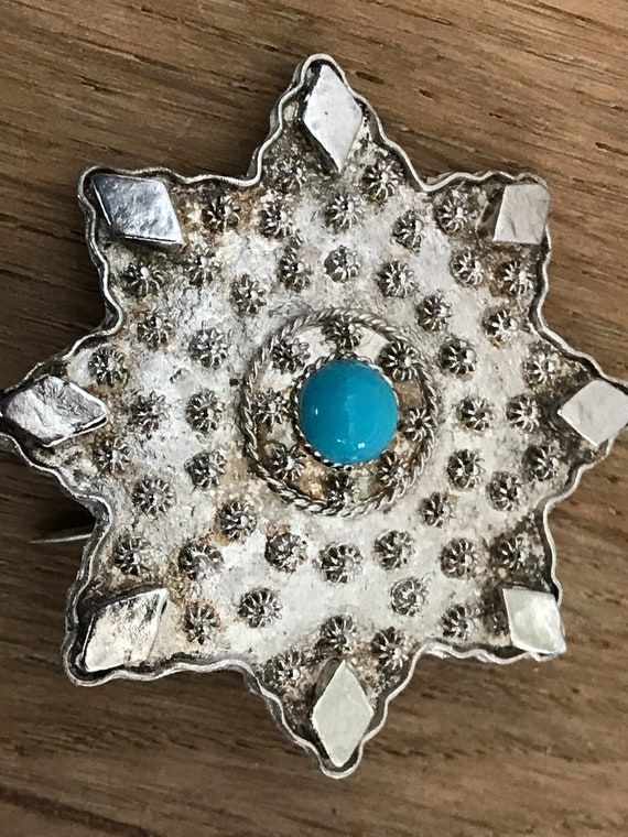 Vintage Islamic Silver and Turquoise eight pointed star pin brooch