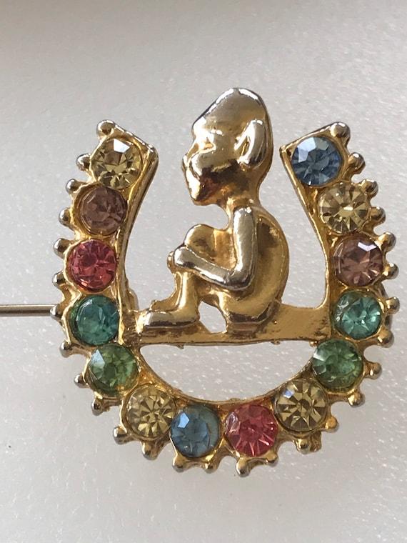 Cute vintage pixie lucky horseshoe rhinestone brooch pin