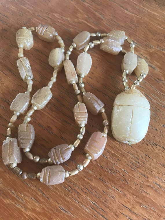 Vintage hand Carved Scarab Soap Stone beaded Necklace