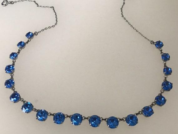 "Stunning 1950s  blue graduated rhinestone necklace signed Czechoslovakia 17"" length"