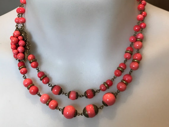 Art Deco Czech two stranded coral glass beaded necklace with grape detail clasp