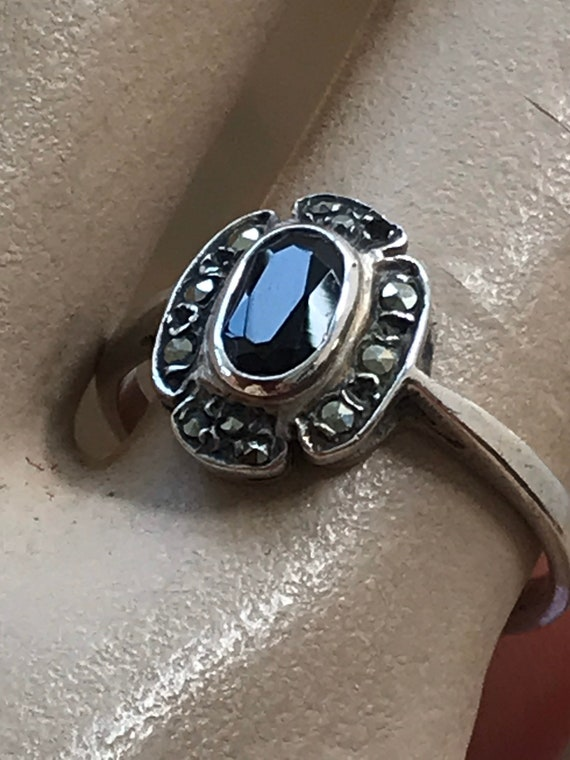 Vintage Art Deco style Silver,Marcasite & onyx ring