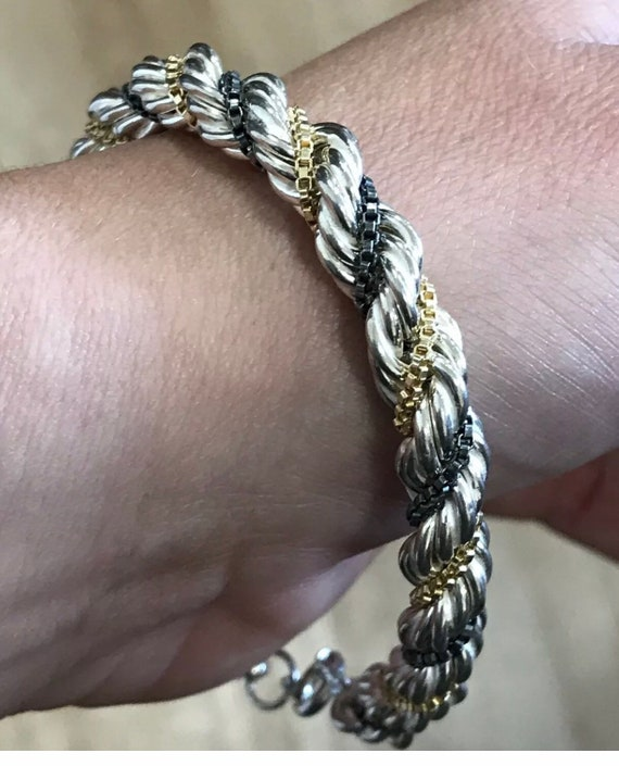 Unusual Hallmarked solid silver ladies chunky rope chain bracelet
