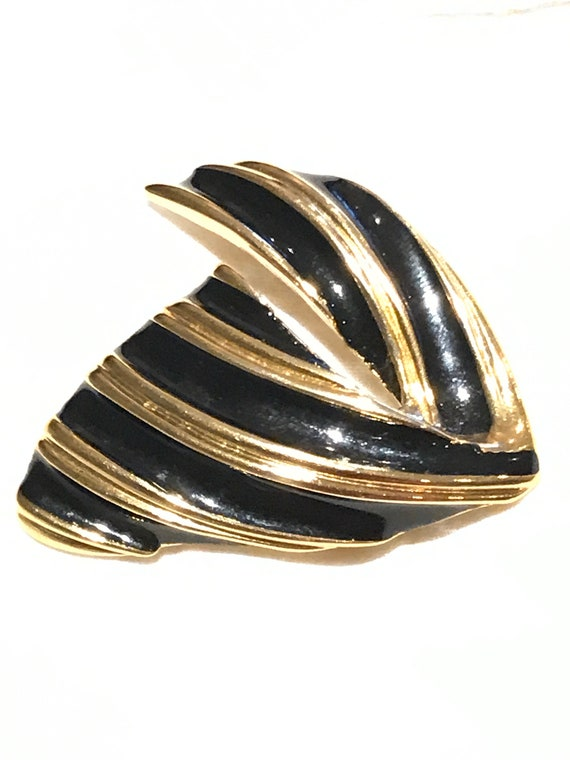 Vintage 1980s D'Orlan black enamel and gold plated modernist style brooch pin
