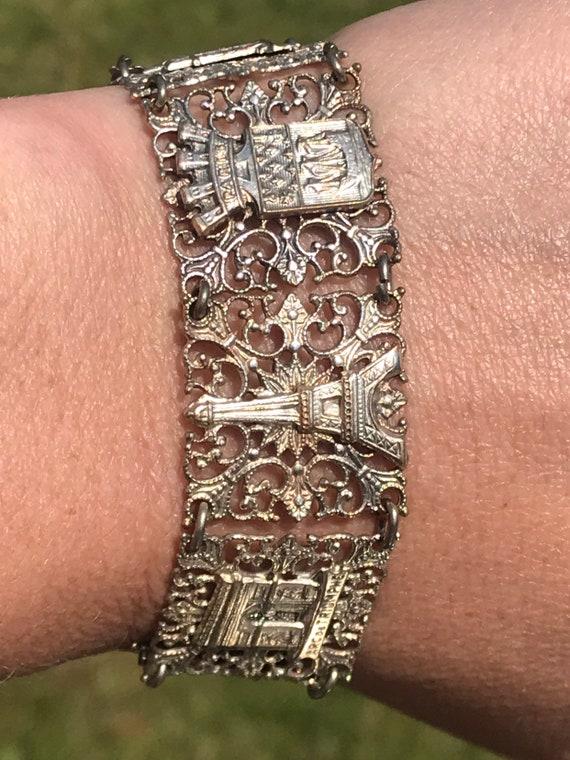 Vintage silver plated French Souvenir bracelet Notre-Dame Arc de Triomphe