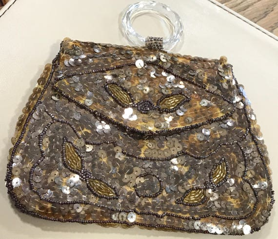 Art Deco beaded and sequinned evening purse bag Made in Czechoslovakia. Glass handle