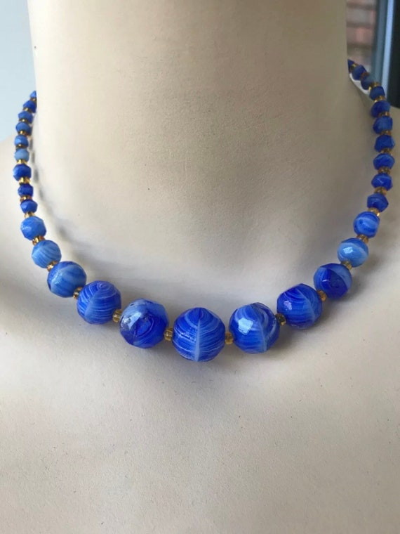 Vintage Venetian swirling blue beaded glass necklace 16 inches in length