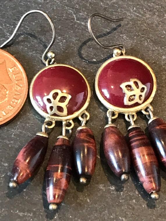 Liz Claiborne dangle wine red beaded glass drop pierced earrings 80s-90s