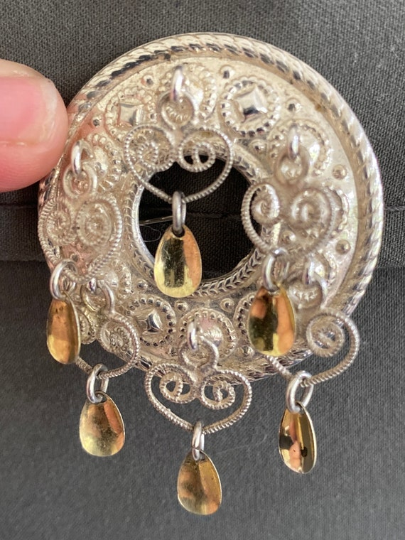 Vintage SE 925S Sterling silver Norwegian Solje traditional wedding brooch pin with gilded spoons